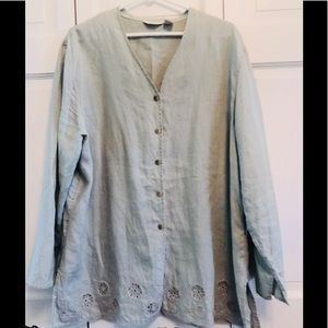 J.Jill Sage Linen Long Sleeve Blouse